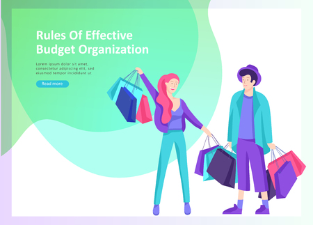 Set of Landing page template about effective house organization. People character couple men and woman efficiently organize plan a budget, more time for rest and yourself Illusztráció