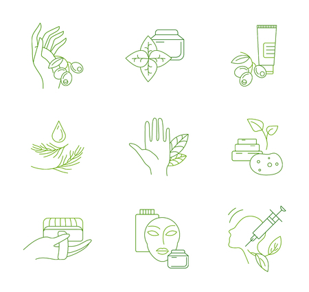 Vector icon and logo for natural cosmetics and care dry skin. Editable outline stroke size. Line flat contour, thin and linear design. Simple icons. Concept illustration. Sign, symbol, element. Stockfoto - 118580900