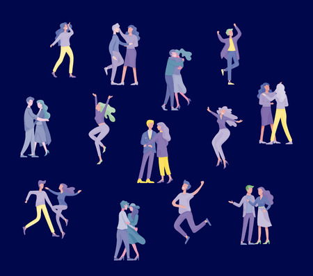 Collection of pairs of dancers. Men and women performing dance at school, studio. Male and female characters. Group of young happy dancing people. Smiling young men and women enjoying dance party Ilustrace