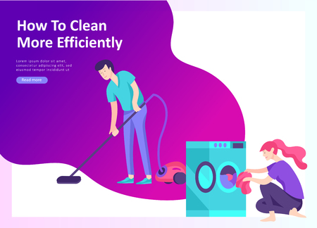 Set of Landing page template about effective house organization. People character couple men and woman clean the house efficiently