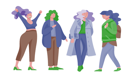Plus size women dressed in stylish clothing. Set of curvy girls wearing trendy clothes. Happy Female cartoon characters. Bodypositive concept illustration Foto de archivo - 118581021