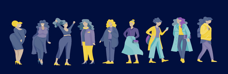 Plus size women dressed in stylish clothing. Set of curvy girls wearing trendy clothes. Happy Female cartoon characters. Bodypositive concept illustration Foto de archivo - 118581027