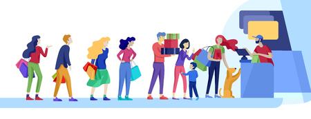 Angry People kolejka w supermarkecie z kasjerem, gdzie kupić koncepcję sprzedawcy. Interakcja sprzedażowa, proces zakupowy. Niezadowolony i zmęczony klient krzyczy i przeklina