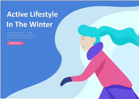 Landing page templates. People dressed in winter clothes or outerwear performing outdoor activities fun. Snow festival, sledding or snowboard. Christmas family ski skating, skiing extreme sport Ilustrace