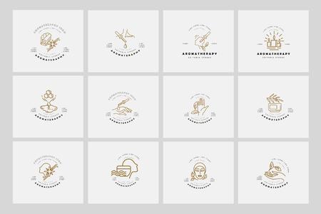 Vectorpictogram en logo voor aromatherapie. Bewerkbare omtreklijngrootte. Lijn platte contour, dun en lineair ontwerp. Eenvoudige pictogrammen. Concept illustratie. Teken, symbool, element.