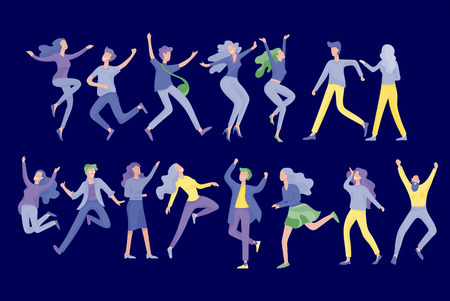 Jumping character in various poses. Group of young joyful laughing people jumping with raised hands. Happy positive young men and women rejoicing together, happiness, freedom, motion people concept. Illustration