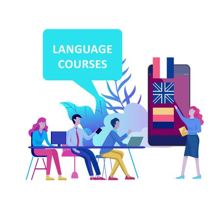 Cours de langues en ligne, enseignement à distance, formation. Interface d'apprentissage des langues et concept d'enseignement. Concept d'éducation, formation des jeunes. Étudiants Internet