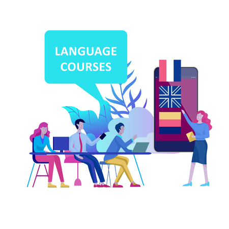 Online language courses, distance education, training. Language Learning Interface and Teaching Concept. Education Concept, training young people. Internet students