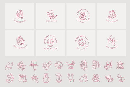 Vector icon and logo for pegnancy and gynecology. Editable outline stroke size. Line flat contour, thin and linear design for adoption and babysitter. Simple icons. Concept illustration. Sign, symbol, element. Vectores