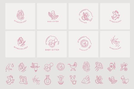 Vektorsymbol und Logo für Schwangerschaft und Gynäkologie. Bearbeitbare Konturstrichgröße. Linie flache Kontur, dünnes und lineares Design für Adoption und Babysitter. Einfache Symbole. Konzept-Abbildung. Zeichen, Symbol, Element.