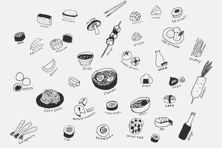 Collection des différents plats japonais. Ensemble d'art de ligne dessiné à la main des icônes de la nourriture Vecteurs