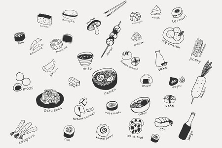 Collection of the different japanese food. Hand drawn line art set of the food icons Standard-Bild - 124290807
