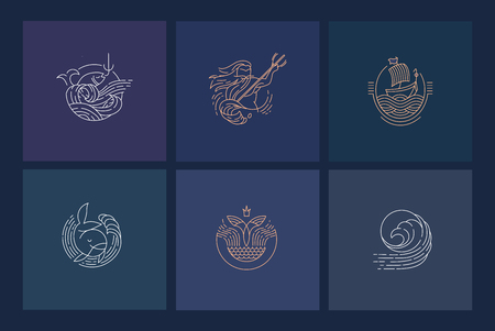Vector icon and logo for sea or fish, asian food and seafood. Editable outline stroke size. Line flat contour, thin and linear design. Simple icons. Concept illustration. Sign, symbol, element. Иллюстрация