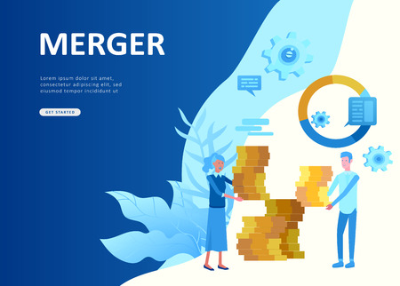 Landing page template people business app, file protection merger, focus group research and career growth cooming soon start up and solution. Vector illustration concept website mobile development Stock Illustratie