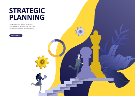 Set Landing page template people business scheduling app, strategic planning merger, investment strategies, career growth, research and development. Vector illustration concept website mobile Stock Illustratie