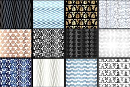 Art Deco Patterns Set. Geometric decorative digital papers. Vector line design. 1920-30s motifs. Luxury vintage illustration