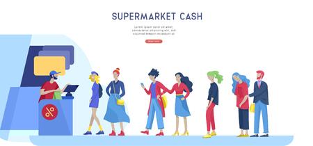 La gente fa la fila al supermercato con il cassiere, dove acquistare il concetto di cliente e commesso. Interazione di vendita, processo di acquisto. Modello di progettazione della pagina di destinazione creativa