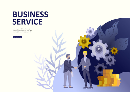 Set Landing page template people develop, business app, winners cup, financial consultant research, cooming soon start up and solution. Vector illustration concept website mobile development Stock Illustratie