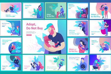 Vector character. Happy people with their pets, cat love their owners. Colorful flat concept illustration. Ilustração