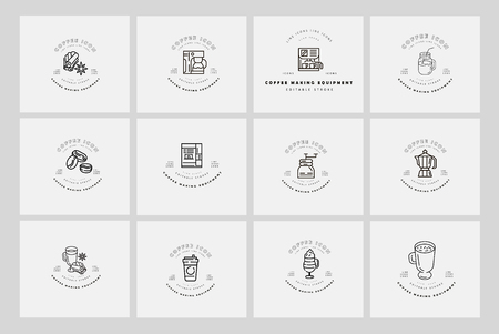 Vector icon and logo for coffee making equipment. Editable outline stroke size. Line flat contour, thin and linear design. Simple icons. Concept illustration. Sign, symbol, element. Banco de Imagens - 119708521