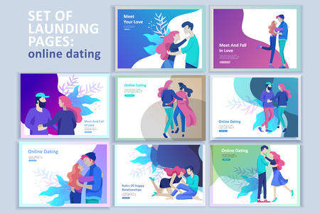 Vector people character. Friends and couple hugging, walking and spend time tygether. Colorful flat concept illustration. Foto de archivo - 119708524