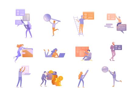 Concepto, gestión y administración de personas de negocios de oficina. Planeación de personajes, diseño web, empresarios discuten redes sociales, noticias, redes sociales. Ilustración de vector plano.