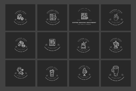 Vector icon and logo for coffee making equipment. Editable outline stroke size. Line flat contour, thin and linear design. Simple icons. Concept illustration. Sign, symbol, element. Banco de Imagens - 119708547