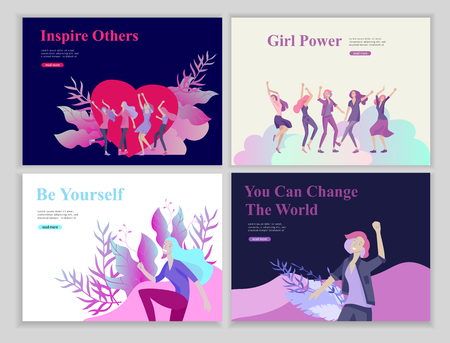 Web page design template for beauty, dreams motivation, International Womens Day, feminism concept, girls power and woman rights, vector illustration for website and mobile website development