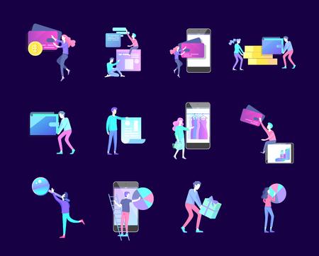Online-Shopping-Menschen und mobile Zahlungen. Das Vektorillustrations-POS-Terminal bestätigt die Zahlung mit einem Smartphone, Mobile Payment, Online-Banking.