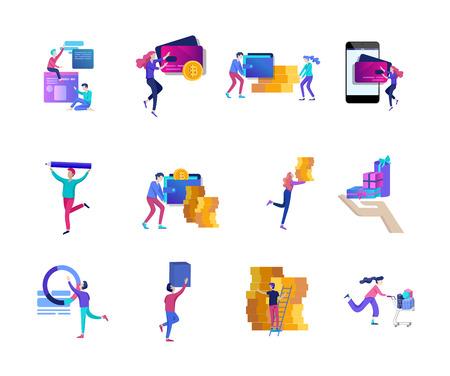 Compras en línea de personas y pagos móviles. La terminal pos de la ilustración vectorial confirma el pago mediante un teléfono inteligente, pago móvil, banca en línea.