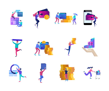 Les gens d'achats en ligne et les paiements mobiles. L'illustration vectorielle terminal pos confirme le paiement à l'aide d'un smartphone, paiement mobile, banque en ligne.