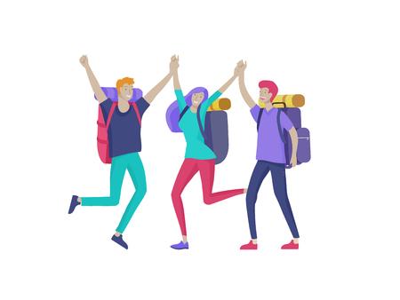 Caratteri di persone uomo e donna per escursioni e trekking, vettore di viaggi di vacanza, escursionista e illustrazione del turismo Turisti felici che viaggiano con gli amici che ballano e si abbracciano