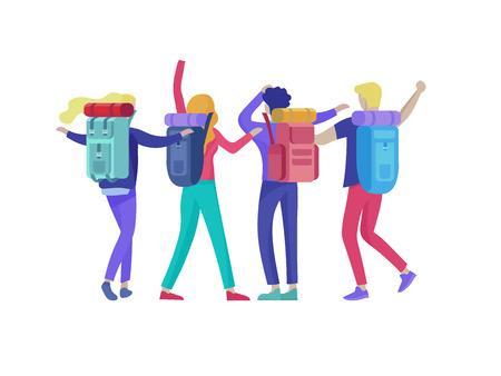 People characters man and woman for hiking and trekking, holiday travel vector, hiker and tourism illustration. Happy Tourists travelling with friends dancing and hugging