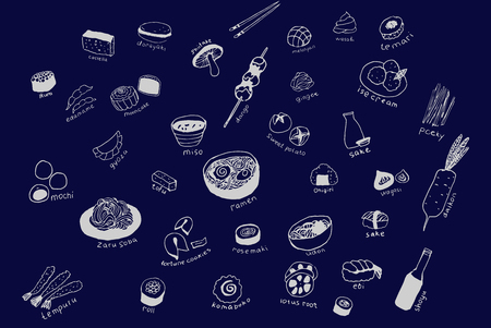 Collection of the different japanese food. Hand drawn line art set of the food icons Standard-Bild - 124236331