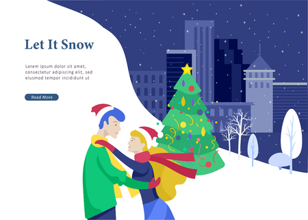 Landing page template or greeting card winter Holidays. Merry Christmas and Happy New Year Website with People Characters happy romantic couple in love hugging on Urban snowy landscape background Illustration