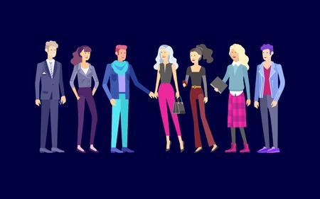 Uomini e donne d'affari di carattere dettagliato, persone che lavorano. Stile di vita del team di affari, stile di vestiti alla moda. Persone con gadget, zaini e libri, concetto di lavoro di squadra. Caratteri di persone design piatto. Vettoriali