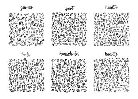 Ensemble d'icônes dessinées à la main et motif d'éléments. Illustration numérique, éléments de griffonnage de jeux, arrière-plan harmonieux de sport, santé et outils. Illustration sommaire de ménage et de beauté de vecteur