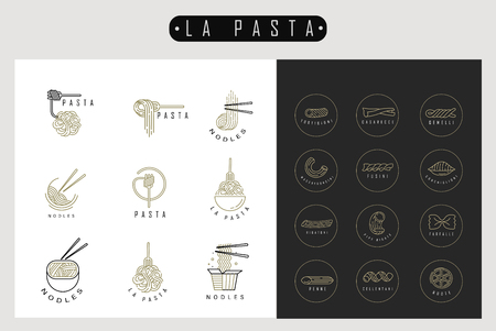 Vector icon and logo for italian pasta or noodles. Editable outline stroke size. Line flat contour, thin and linear design. Simple icons. Concept illustration. Sign, symbol, element. Ilustrace