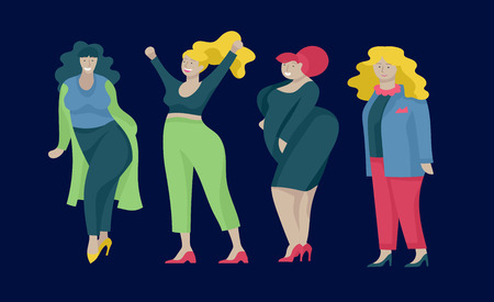 Plus size women dressed in stylish clothing. Set of curvy girls wearing trendy clothes. Happy Female cartoon characters. Bodypositive concept illustration Foto de archivo - 120188755