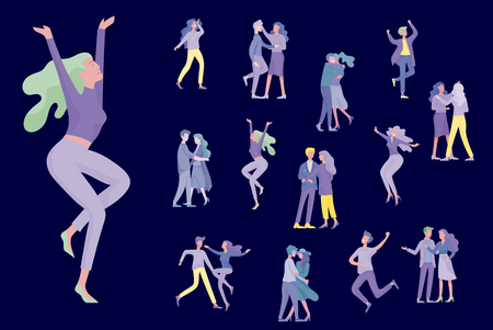Jumping character in various poses. Group of young joyful laughing people jumping with raised hands. Happy positive young men and women rejoicing together, happiness, freedom, motion people concept. Imagens - 120188766