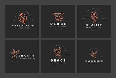 Vector icon and logo peace and charity. Editable outline stroke size. Line flat contour, thin and linear design. Simple icons. Concept illustration. Sign, symbol, element. Ilustracja