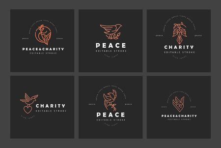Vector icono y logo paz y caridad. Tamaño de trazo de contorno editable. Línea de contorno plano, diseño delgado y lineal. Iconos simples. Ilustración de concepto. Signo, símbolo, elemento.