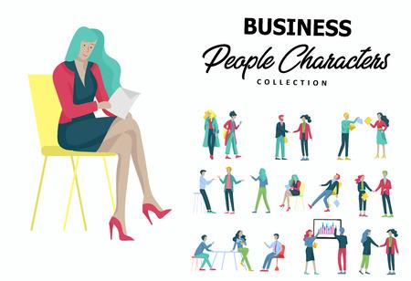 Hommes d'affaires faisant une poignée de main, une étiquette commerciale, des concepts de fusion Employés de bureau, employés ou gestionnaires se parlant, discutant, déprimé Employés de bureau masculins et féminins fatigués assis, dormant