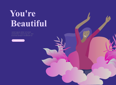 Web page design template for beauty, dreams motivation, International Womens Day, feminism concept, girls power and woman rights, vector illustration for website and mobile website development Imagens - 120191521