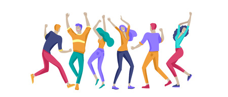 Jumping character in various poses. Group of young joyful laughing people jumping with raised hands. Happy positive young men and women rejoicing together, happiness, freedom, motion people concept. 矢量图像