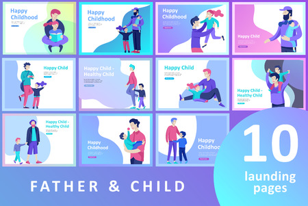 Vector people character. Father and him child spending time together, happy male parent. Colorful flat concept illustration.