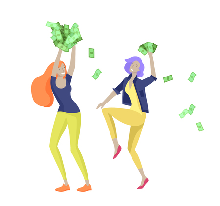 Happy people characters in move celebrating victory. Business team standing under money rain, run with profit, catch bills. Cartoon style, flat vector illustration Illustration