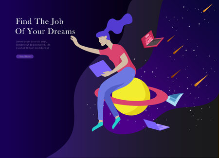 Job presentation banner page. Inspired People flying, choose career or interview a candidate, agency human resources creative find experience. Character find work of dreams, design illustration Illustration