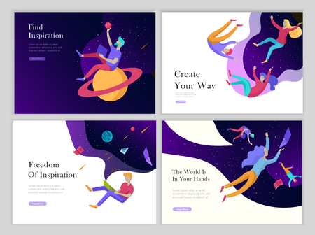 landing page templates set. Inspired People flying. Create your own spase. Characters moving and floating in dreams, imagination and freedom inspiration design work. Flat design style Çizim