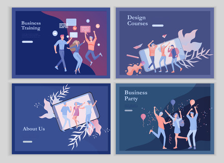 landing page templates set with team People moving. Business invitation and corporate party, design training courses, about us, expert team, happy teamwork. Flat characters design illustration Vettoriali